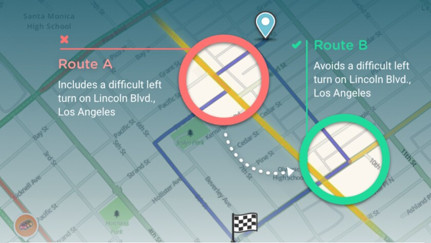 A new feature in Waze that's launching first in Los Angeles on Friday seeks to help people avoid risky left turns, though it may lengthen some commutes.