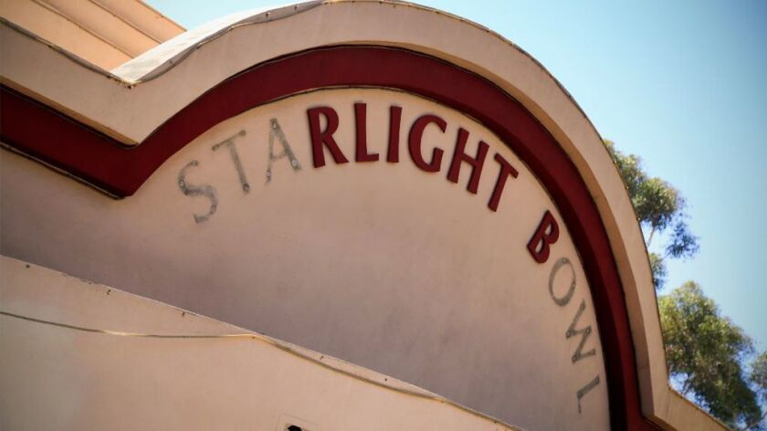 Deterioration of the Starlight Bowl amphitheater in Balboa Park is evident in its identifying sign w