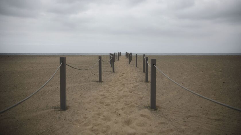 A rope path allows visitors to walk in the middle of the restoration site at Santa Monica Beach, and