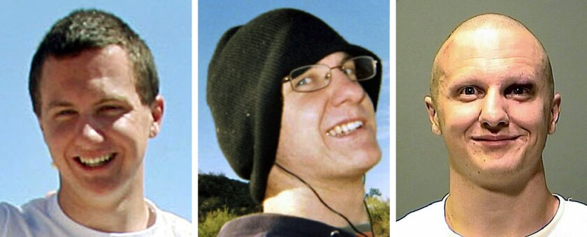 This combination image shows Jared Lee Loughner, the gunman who killed six people and wounded former Arizona Rep. Gabrielle Giffords in Tucson in 2011. From left, Loughner at the Tucson Festival of Books in March 2010; in an undated photo from MySpace; and in a photo released by the Pima County Sheriff's Office.