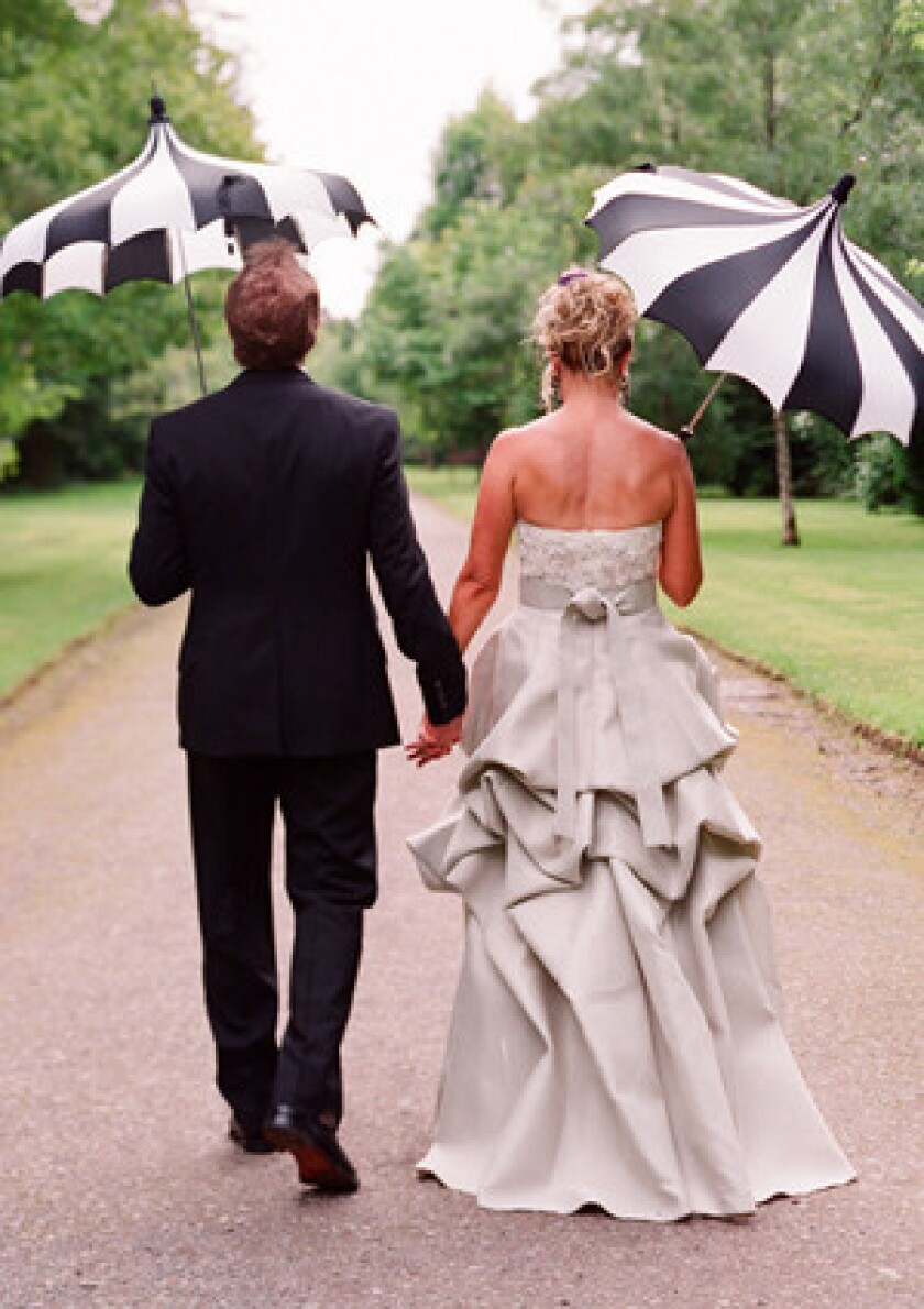 Black can also be an accesory, as is the case with these umbrellas.