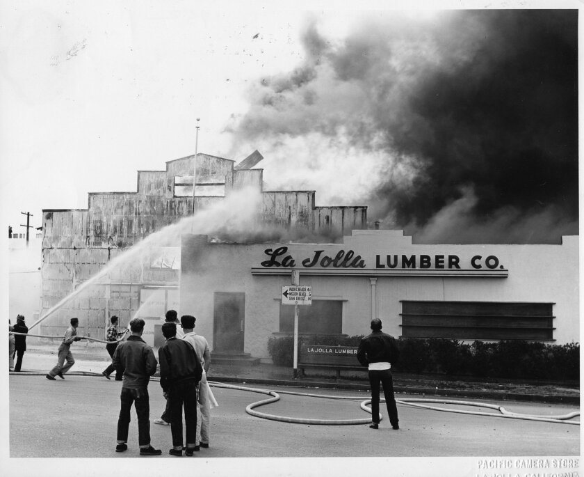 This fire broke out at La Jolla Lumber Co. March 15, 1952.