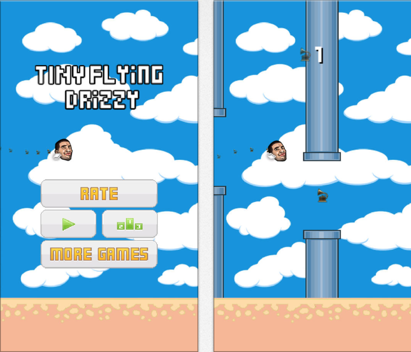 Tiny Flying Drizzy is a Flappy Bird clone that uses rapper Drake as the game's main character.