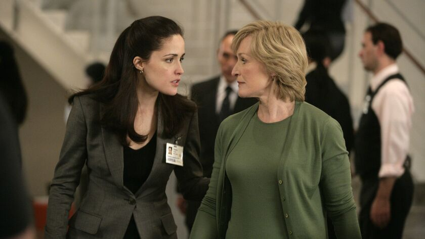 Glenn Close (R) and Rose Byrne (L) in Season One of DAMAGES. The show was created by Todd A. Kessler