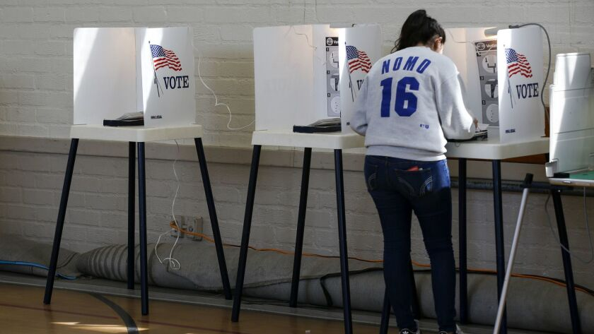 HOLLYWOOD, CA, MARCH 7, 2017: Turnout is light, but steady as voters cast their ballots at the polli