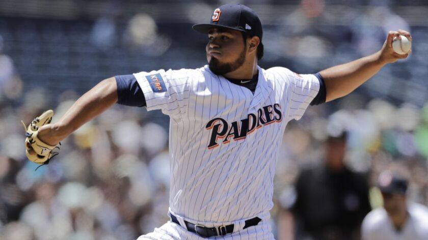 San Diego Padres relief pitcher Jose Castillo works against an Atlanta Braves batter during the thir