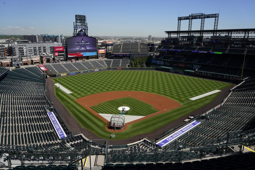 An upper-level view of Coors Field from behind home plate.