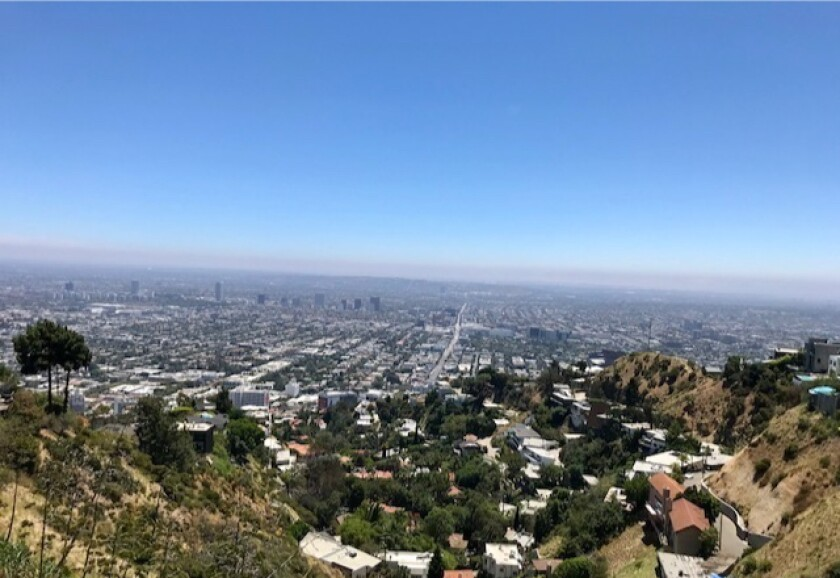 Listed at $99,000, this hillside property takes in city and ocean views above the Sunset Strip.