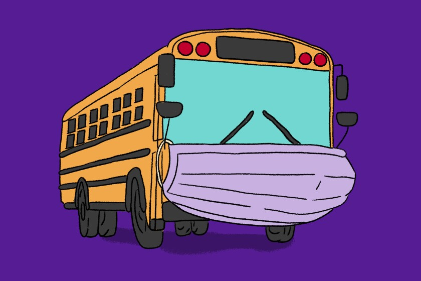 An illustration of a bus wearing a mask.