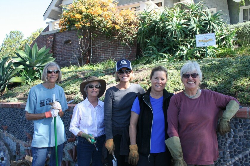 Del Mar Garden Club members Marian Casazza, Liz Dernetz, Piper Underwood, Gale Bakker and Arline Paa.