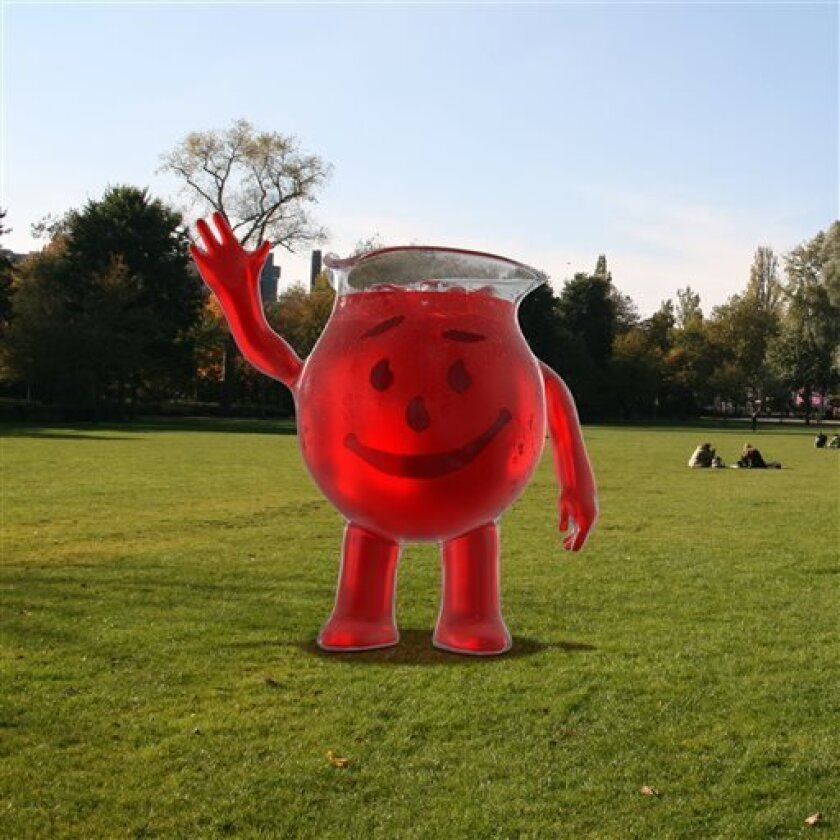 """This computer-generated image provided by Kraft Foods Group Inc. on Friday, April 12, 2013 shows the new """"Kool-Aid Man."""" Kool-Aid is unveiling a new look for its big red mascot Monday, April 15, 2013 as the powdered drink looks to refresh its image and tout a new liquid mix. The Kool-Aid Man will now be computer generated and take on the personality of a celebrity trying to show he's just a normal guy. In past TV ads, the character was played by an actor in foam costume and had little to say or"""