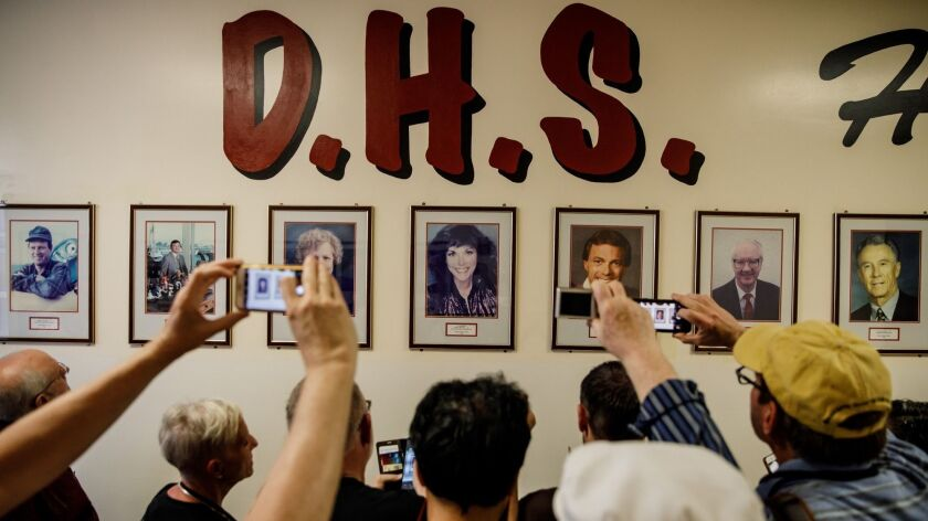 DOWNEY, CALIF. -- THURSDAY, APRIL 25, 2019: Fans of the Carpenters visited the Downey High school, w