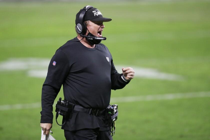 Las Vegas Raiders head coach Jon Gruden reacts during the first half of an NFL football game against the Kansas City Chiefs, Sunday, Nov. 22, 2020, in Las Vegas. (AP Photo/Isaac Brekken)