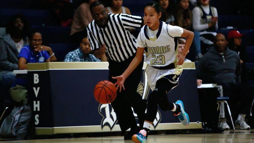 Bonita Vista #23 guard Shyla LaTone, sophomore, pushes the ball forward against Eastlake High School.