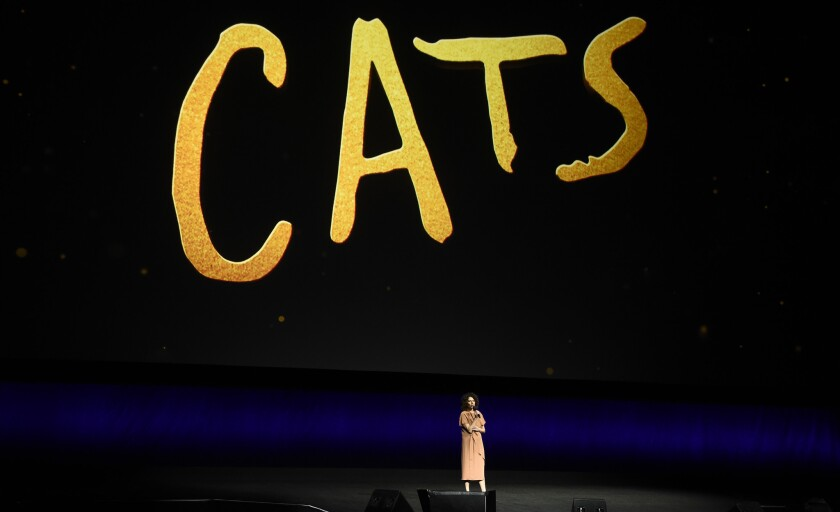 """Donna Langley, chairman of the Universal Filmed Entertainment Group, announces the upcoming release of """"Cats"""" based on the musical, during the Universal Pictures presentation at CinemaCon 2019 in Las Vegas."""