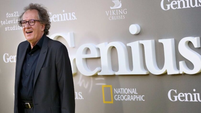 """""""Genius"""" star Geoffrey Rush at the Westwood premiere of the National Geographic Channel's series."""