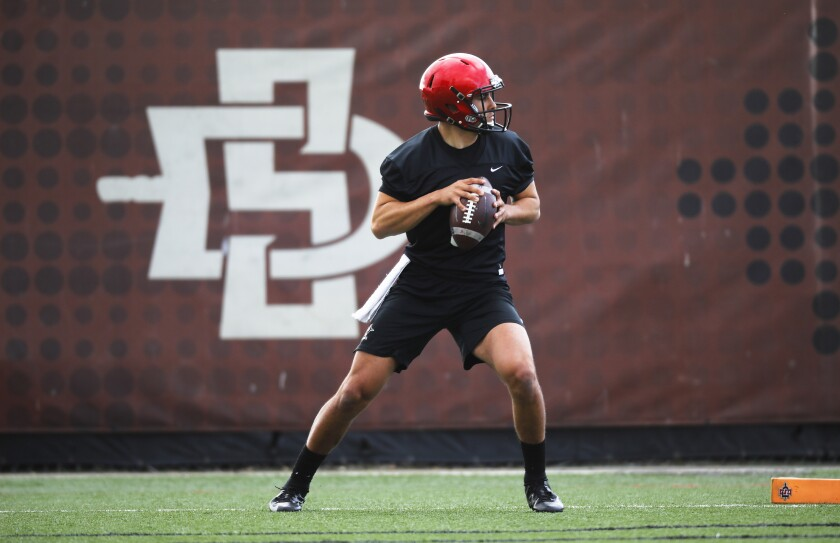San Diego State quarterback Carson Baker drops back during a spring workout on the SDSU practice field.