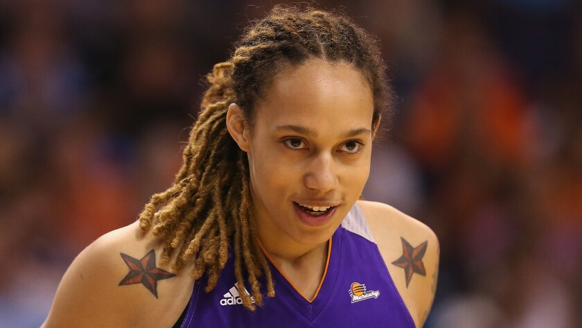 Phoenix Mercury star Brittney Griner looks on during the WNBA All-Star Game in Phoenix on July 19, 2014.