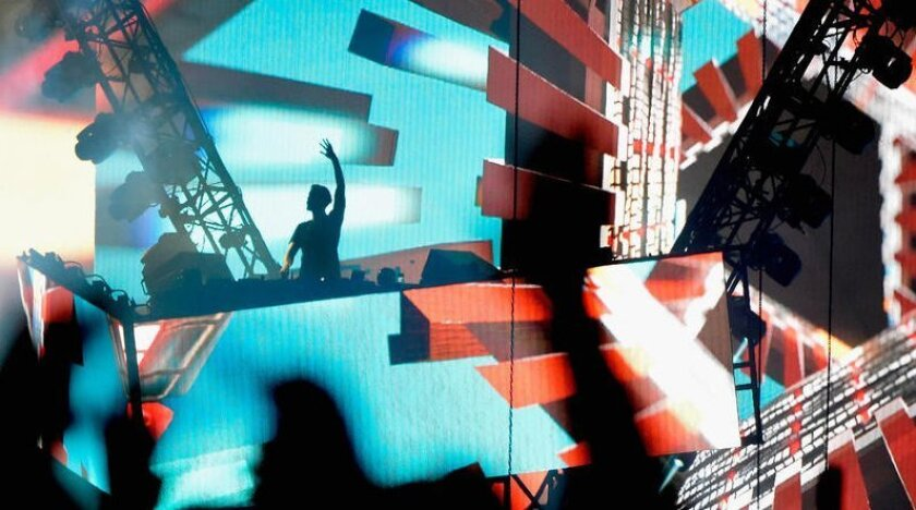 DJ Calvin Harris performs Sunday night at the Coachella Valley Music and Arts Festival in Indio.