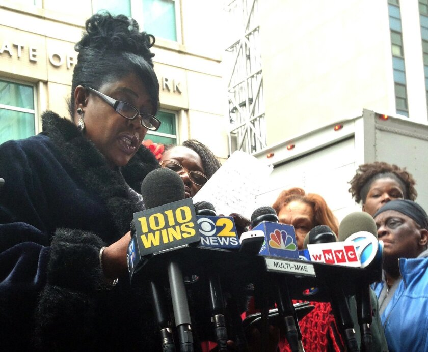 Sylvia Palmer, mother of Akai Gurley, speaks outside state Supreme Court in the Brooklyn borough of New York Monday, Feb 8, 2016, after hearing NYPD Officer Peter Liang testify about Gurley's 2014 death in a housing project stairwell. Lawyers for Liang say the evidence doesn't meet legal requiremen