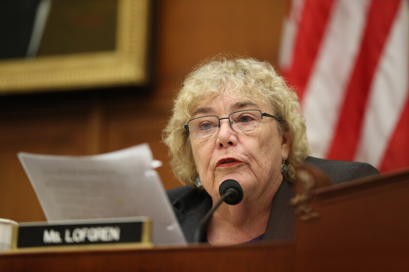 Rep. Zoe Lofgren (D-San Jose) asks questions of special counsel Robert S. Mueller III in July during his testimony before ouse Judiciary Committee members.