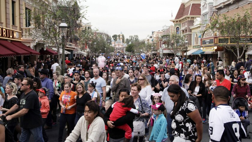 Crowds on Disneyland's Main Street