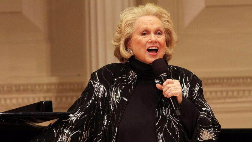 Barbara Cook, photographed in 2014 in New York. The Tony Award-winning singer and actress died of respiratory failure on Tuesday.
