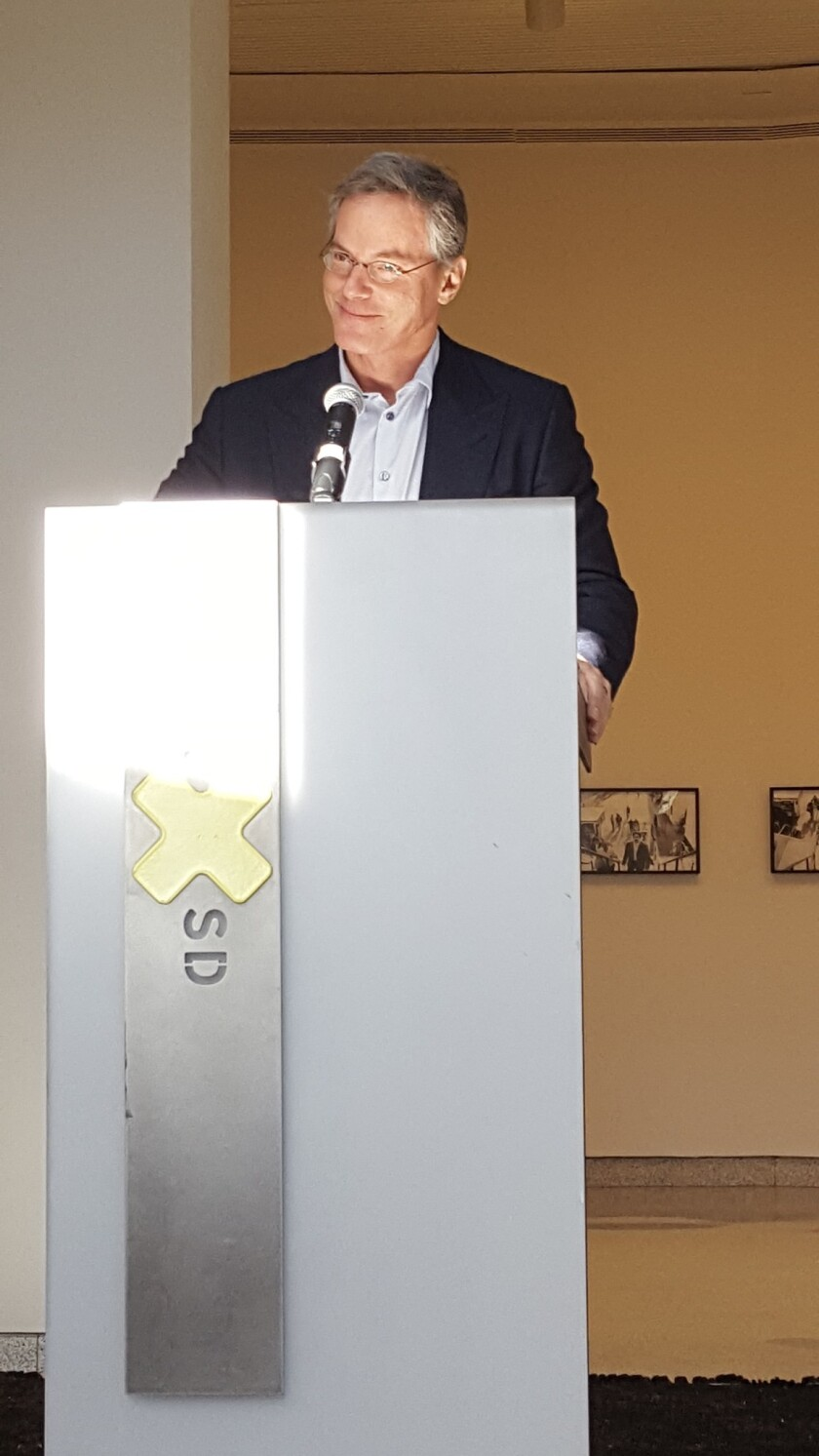 Incoming MCASD board president Paul Jacobs speaks about the Museum's cultural contributions to La Jolla at its 75th anniversary press conference, Oct. 18.