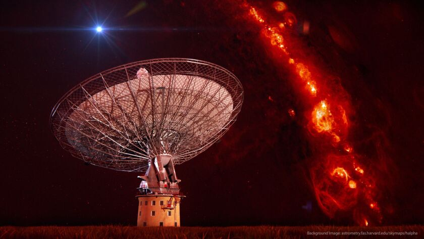 Using CSIRO's Parkes radio telescope, scientists confirmed the existence of four fast radio bursts. The telescope is shown superimposed on an image of the distribution of gas in the Milky Way galaxy and an artist's rendition of a fast radio burst.