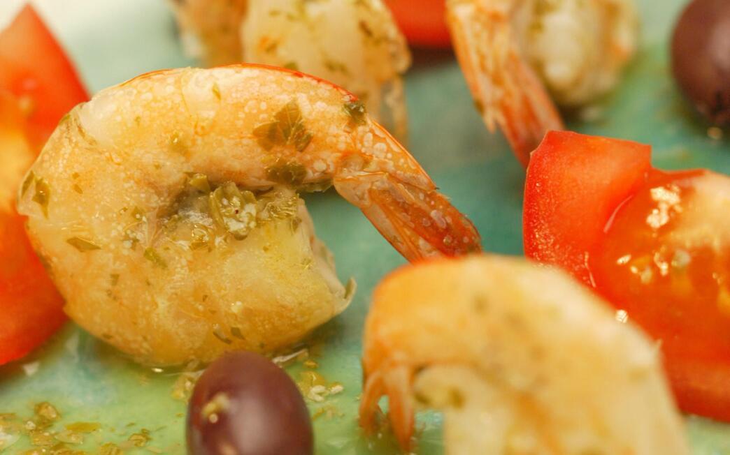 Marinated shrimp Cretan style in salty lemon dip