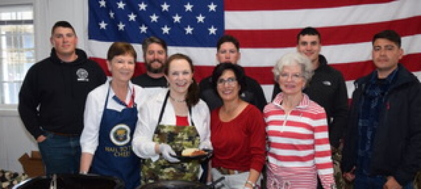 Linda Jacoway, Jan Clark, Roberta Arzola, Gail Kendall, backed by five hard-working and hungry WFW students.