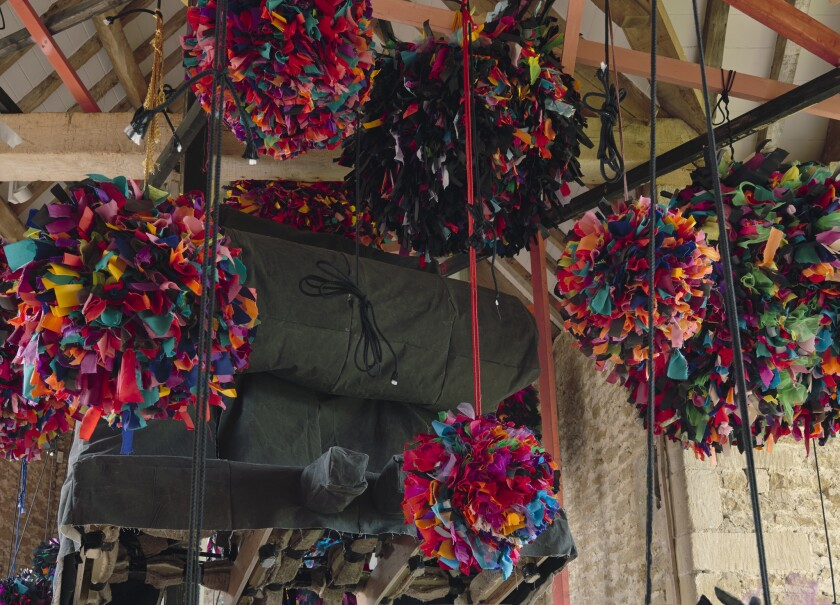 Hauser Wirth & Schimmel's first show is a survey of sculptures by women. Phyllida Barlow's installation 'untitled: GIG,' originally shown at the Somerset space, will come to L.A. for the exhibition.