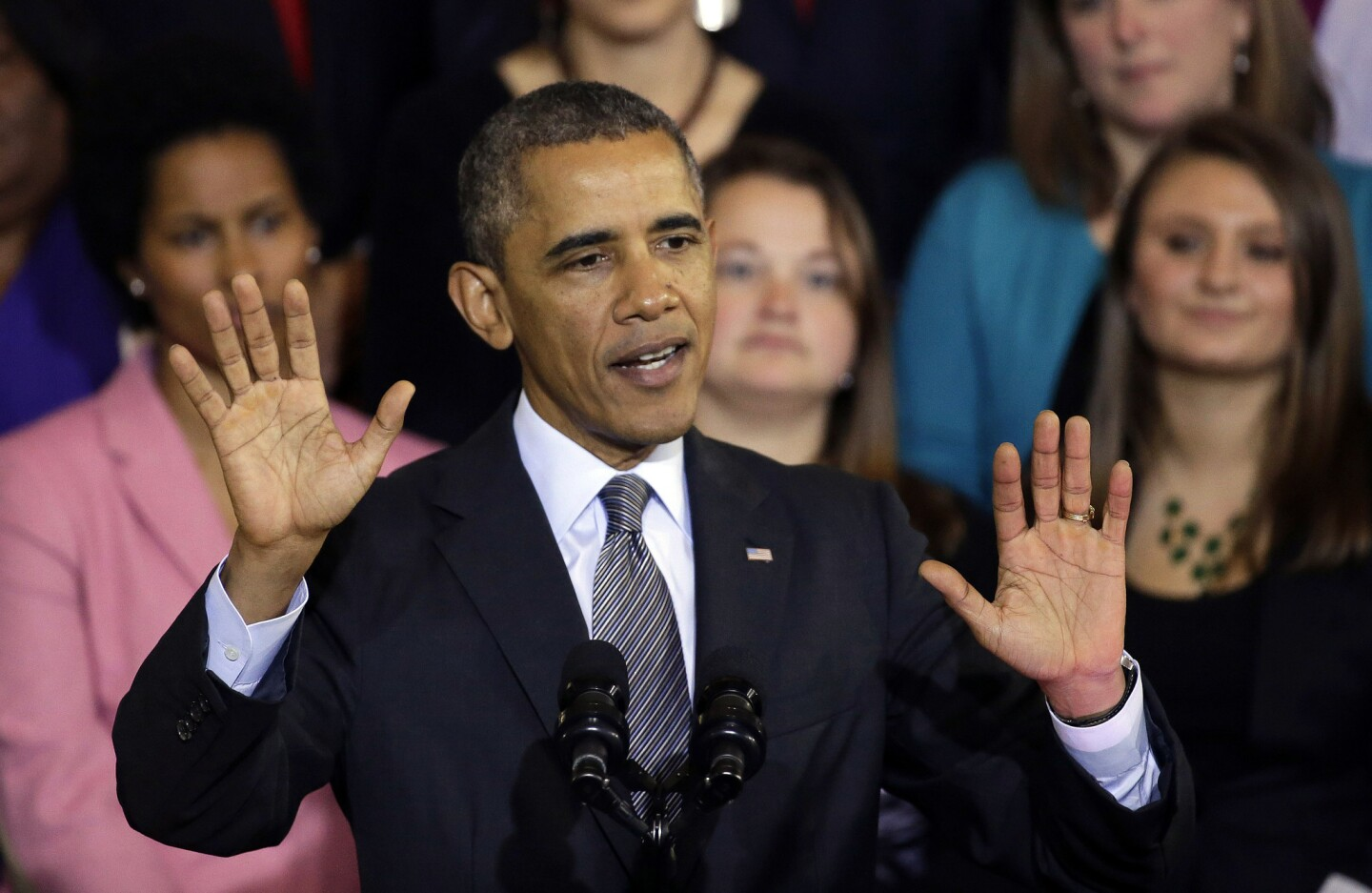 """In a televised interview last month, President Obama apologized for telling the public, repeatedly and without qualification, that """"if you like your healthcare plan, you can keep your healthcare plan"""" — even though the healthcare reform law he championed phased out plans that didn't meet an exacting new set of standards. He stopped short of admitting that he'd done something wrong, though, which left some of the people whose policies were canceled fuming. """"I am sorry that they are finding themselves in this situation based on assurances they got from me,"""" he told NBC News. Wait, what? People are """"finding themselves"""" without coverage not because of some bogus promise Obama made but because of the law he championed. PolitiFact later declared the president's """"you can keep it"""" promise its """"Lie of the Year."""" Above: Obama speaks at Boston's historic Faneuil Hall about the federal healthcare law on Oct. 30. MORE YEAR IN REVIEW: 12 political photos that made us look twice 10 tips for a better life from The Times' Op-Ed pages Kindness in the world of politics? 7 uplifting examples from 2013"""