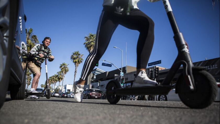 VENICE, CA -- TUESDAY, MAY 15, 2018-- Motorized scooter company, Bird has been trying to get people