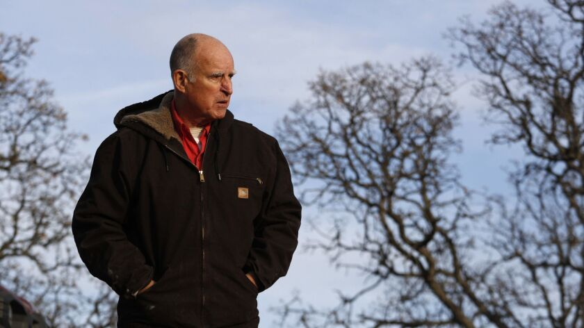 Jerry Brown at his ranch in Williams, Calif. on Dec. 28, 2017.