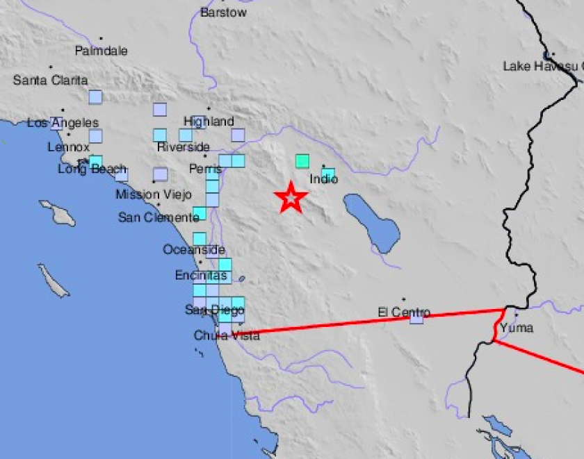 A magnitude 3.5 aftershock to Friday's 4.9 earthquake near Anza was felt in San Diego County on Sunday.