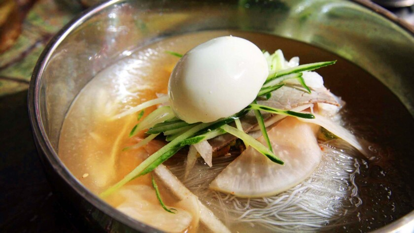 The mool naengmyeon at Hansol Noodle in Koreatown includes house-made noodles in an icy broth with pork and egg.