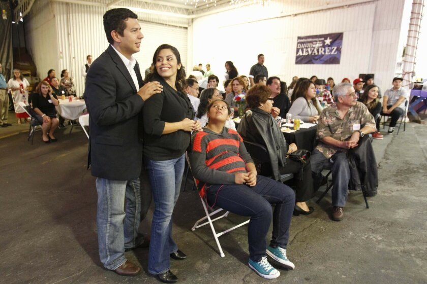 Councilman David Alvarez at a family-based fundraiser for his mayoral campaign in Barrio Logan.