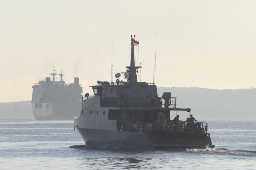 A navy ship off Indonesia