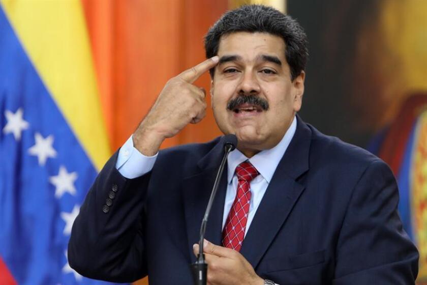 El jefe de Estado de Venezuela, Nicolás Maduro, habla durante una rueda de prensa desde el Palacio Miraflores, en Caracas (Venezuela). EFE/Archivo