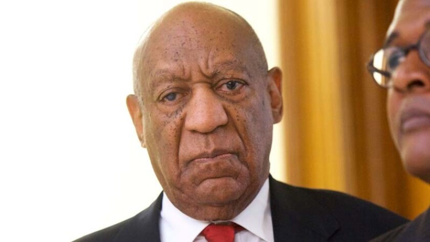 Actor and comedian Bill Cosby reacts while being notified a verdict was in in his sexual assault ret