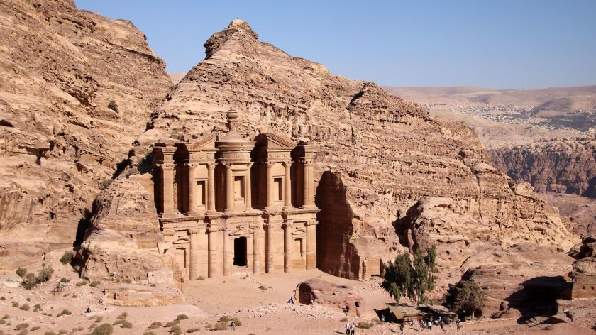 A view of the Monastery shows how Petra's rock monuments were carved straight from sandstone cliffs.