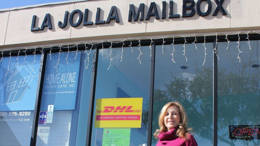 La Jolla Mailbox Rentals, run by Anita Woods (pictured), is one of the oldest businesses on La Jolla Boulevard.