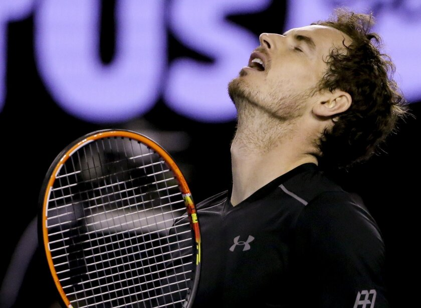 Andy Murray of Britain reacts after losing a point in the third set tie break during his men's singles final match against Novak Djokovic of Serbia at the Australian Open tennis championships in Melbourne, Australia, Sunday, Jan. 31, 2016.(AP Photo/Aaron Favila)