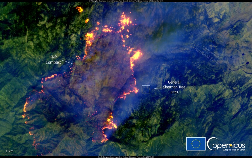 This image by the Copernicus Sentinel-2 satellites on September 18, 2021, shows the KNP Complex fire in California