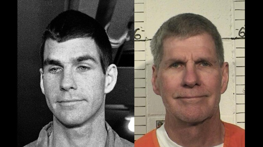 "Charles ""Tex"" Watson in 1971, left, and in a 2014 photo provided by the California Department of Corrections and Rehabilitation."