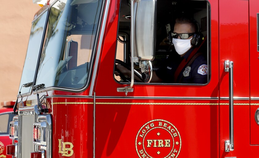 Firefighters from Long Beach Fire Station 11 respond to a call on April 15.