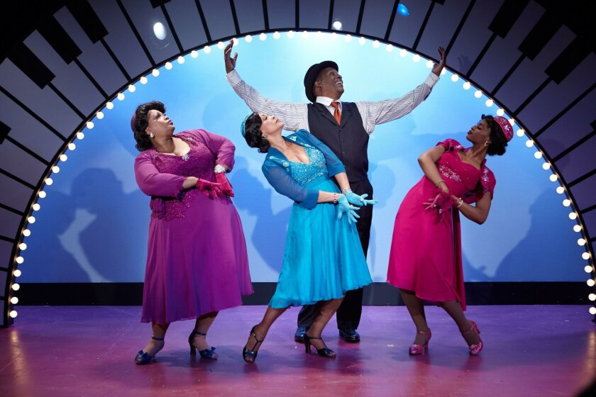 """Cynthia Thomas, Anise Ritchie, Tony Perry and Yvonne (left to right) in North Coast Rep's """"Ain't Misbehavin'."""""""