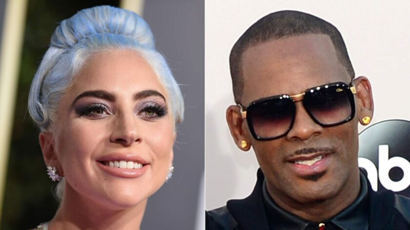 Lady Gaga, left, at the 76th annual Golden Globe Awards on Jan. 6, 2019, in Beverly Hills and singer R. Kelly at the 2013 American Music Awards on Nov. 24, 2013, in Los Angeles.