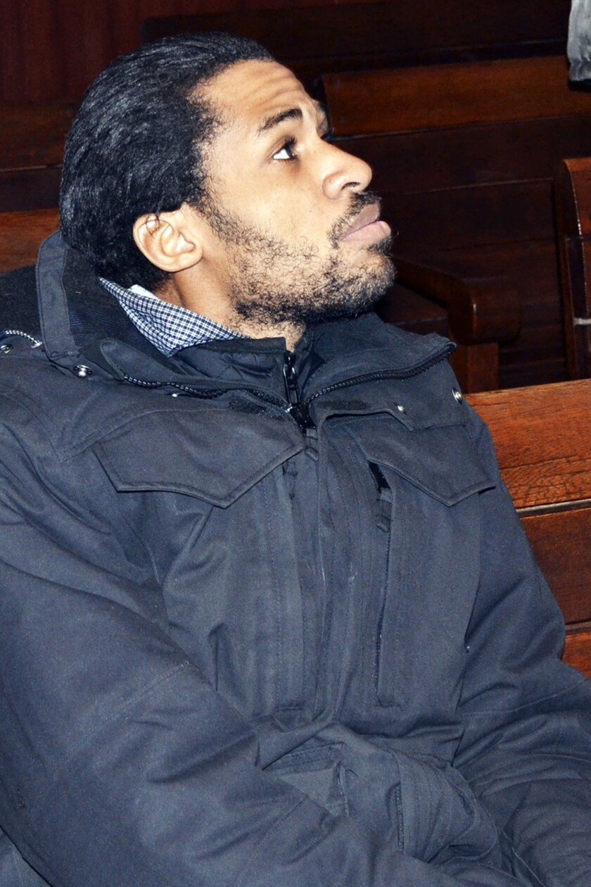 Frenchman Fritz-Joly Joachin, 29, a French citizen of Haitian origin is shown in the court in Haskovo, Bulgaria, on Monday.